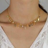 Chaîne de tour de cou femelle remplie d'or coloré multi charme charmant collier de femmes de luxe