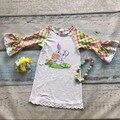 Easter algodão novo design meninas do bebê crianças conjuntos de vestuário boutique eatser bunny dress plaid ruffles com acessórios combinando conjunto