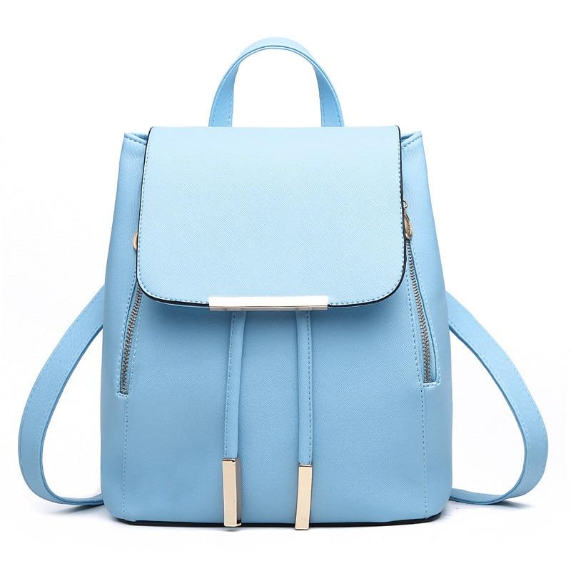 Fashion PU Adjustable Straps Women Backpacks Sky Blue Casual Traveling Bag Girl's Schoolbag Zipper blue sky чаша северный олень