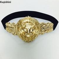 New Gold Metal Big Lion Head Elastic Belt For Women S Skirt Dress Belts Beauty Punk