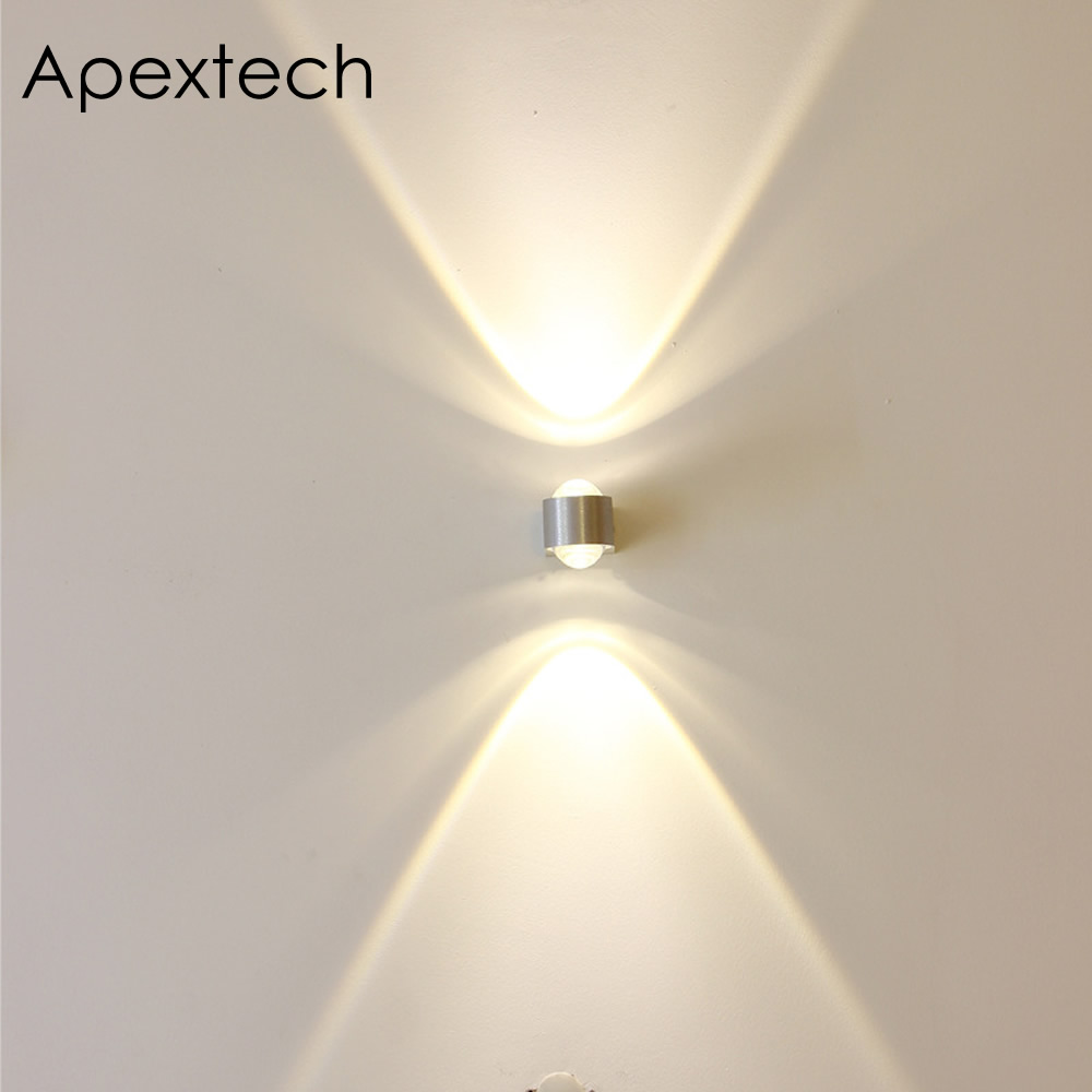Apextech Convex Lens LED Wall Lamp 2Head Aluminum Wall Mounted Bedroom Night Lights Indoor Ambient Lighting For Hotel Corridor