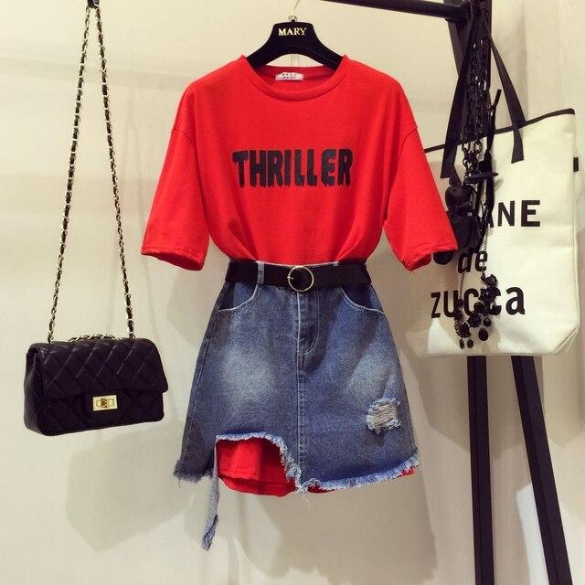 61b794eb259f 2019 Fashion Summer Women Girl s Letters Print Loose Long T shirt + ...