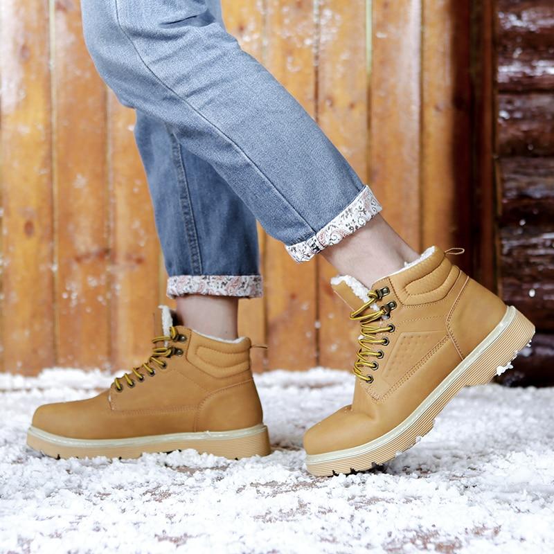 Schuhe amarelo Homens Botas Herren De Tornozelo Inverno Sapatos azul Casuais Dos Trabalham Moda Preto Nieve Martins Heinrich Quente Couro Hombre qHxt7OEB