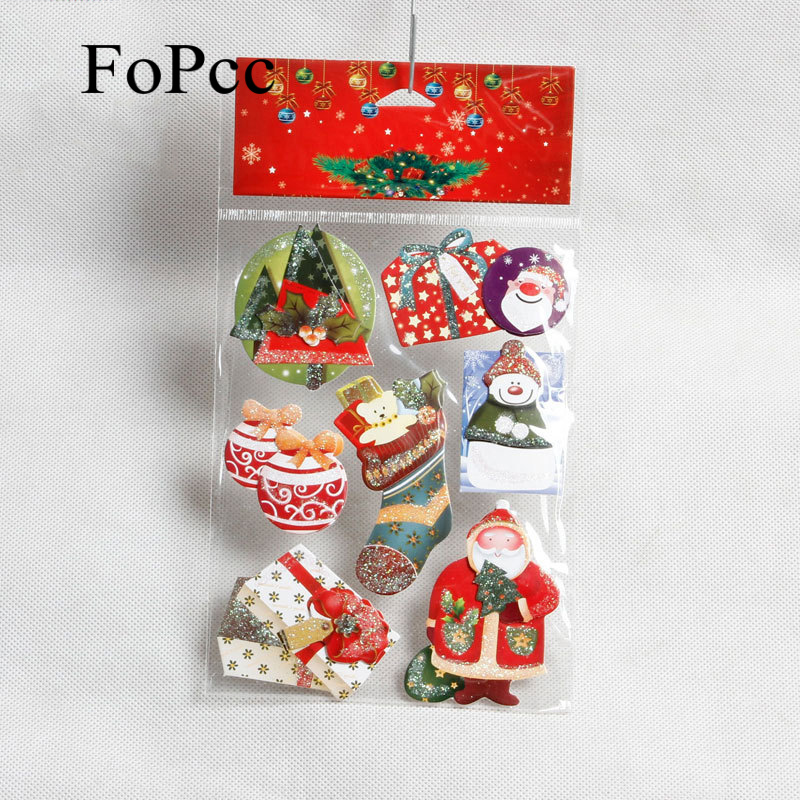 7PCS/Set Christmas Theme Paper Stickers Gift Packing Label Baking Packaging Box Bags Sealing Sticker Party Xmas DIY Card Decor