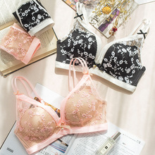 winter embroidery flowers without steel ring underwear girl sweet princess  push up bra set lingerie lenceria af0ea60e3