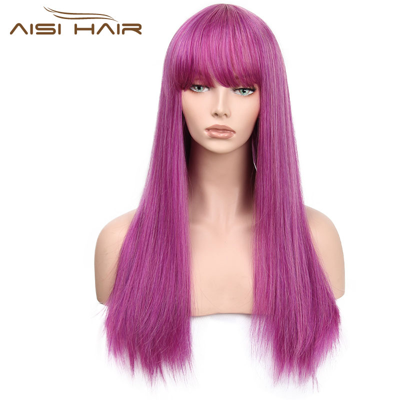 I's a wig 30 inches Long Synthetic Wigs Purple With Bang Wig for Women Straight Hair Can Be Cosplay
