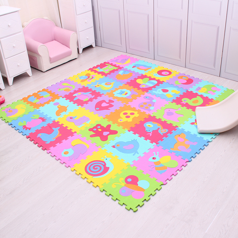 Cartoon Animal Pattern Play Mat For Kids EVA Foam Puzzle Carpet Baby Crawling Mat Gym Soft Floor Game Rugs Mei Qi Cool iron steel texture background pattern floor mat