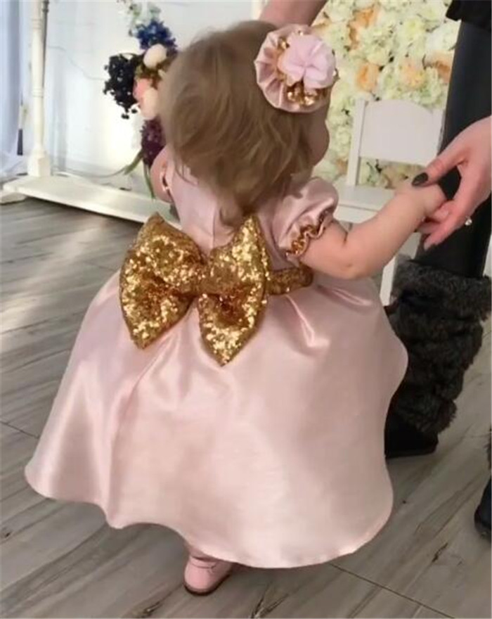 Pink cute baby girls birthday gown with sequined bow flower girl ...