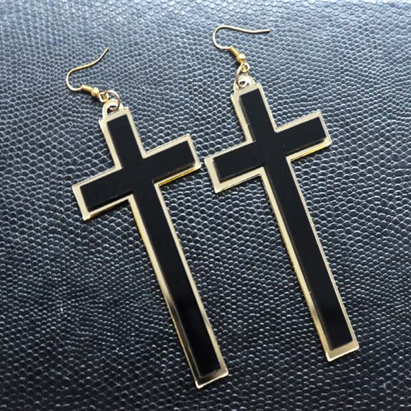 Punk Fashion Vintage Big Long Black Acrylic Cross Drop Earrings For - Fashion Jewelry - Photo 1