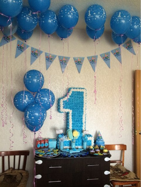 20pcs 12 BoysGirls 1st Birthday Balls Happy Decoration Blue 1 Year Old Balloons