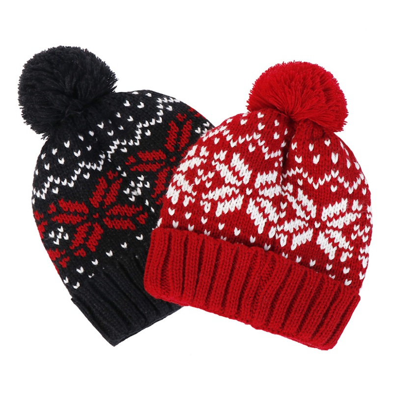 2019 1 PC Hot Sale Women Men Fashion Warm Knitted Crochet Winter Ski Warm Hat Cap Snowflake Beanie Caps