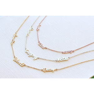 Image 3 - Personalized 3 Nameplate Necklace Custom Name Pendant Women Chokers Necklaces Letter Jewelry For Family Kids Clavicle Chain BFF