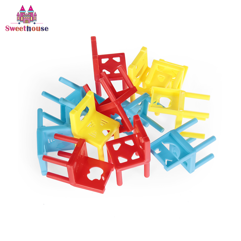 Mini Chair Stacking Blocks Baby Game Toys Balance Attention Training Tool Early Childhood Education Toys for Kids Birthday Gifts
