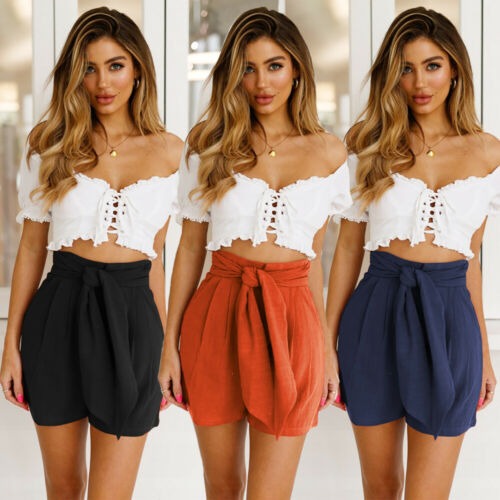 2019 Women Shorts Casual Summer Stylish Loose Shorts Belt Beach High Waist Short Trousers Plus Size
