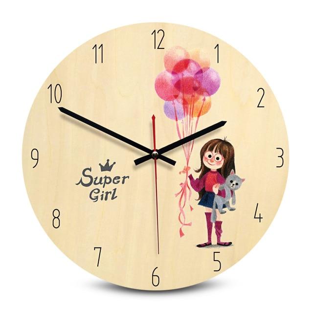 Round Printing Wooden Wall Clock Decorative Vintage Quartz Colourful Creative