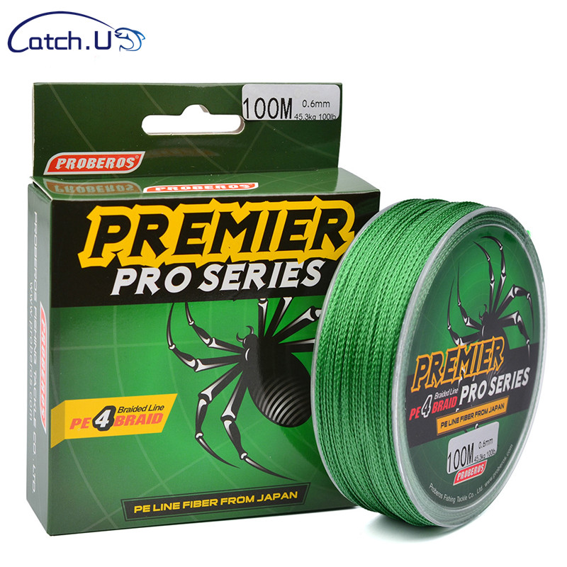 Catch.u 4 Series 100 Meters Strong Horse Fish Line 5 Color Pe Line 0.4-10# Braided Line Green Standard