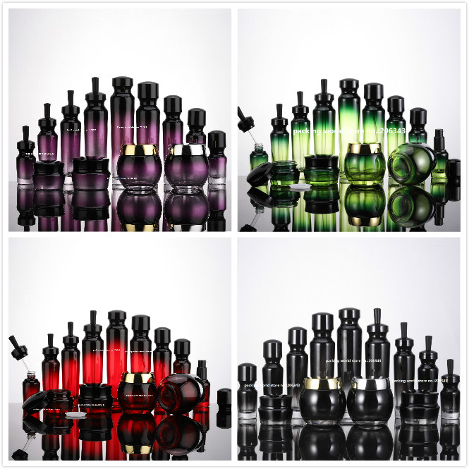 30ML green/purple/red/black glass bottle with dropper for serum/essence/oil/eye skin care liquid cosmetic packing