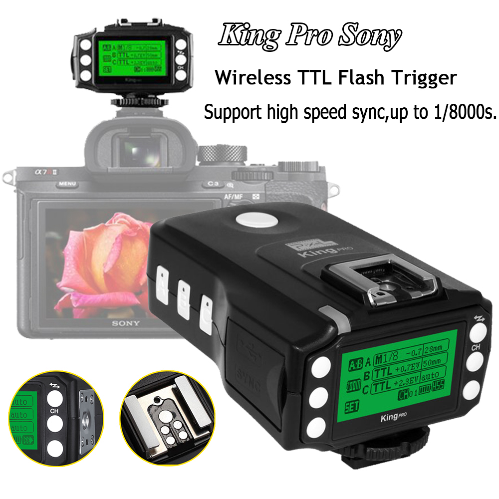 Pixel King Pro Wireless Flash Trigger Transceiver TTL HSS LCD Screen for Sony Mi Shoe DSLR Cameras A7 A7R A7RII A6300 A6500 A65 pixel x800s standard gn60 hss ttl flash speedlite 2pcs king pro 2 4g flash trigger transceivers for sony a7 a7s a7r a7rii