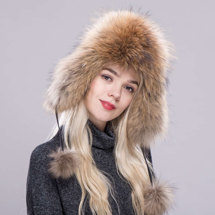 ZDFURS  Fur Hat for Women Natural Raccoon Fox Fur Russian Ushanka Hats  Winter Thick Warm Ears Fashion Bomber Cap New Arrival 639a1bc6894e