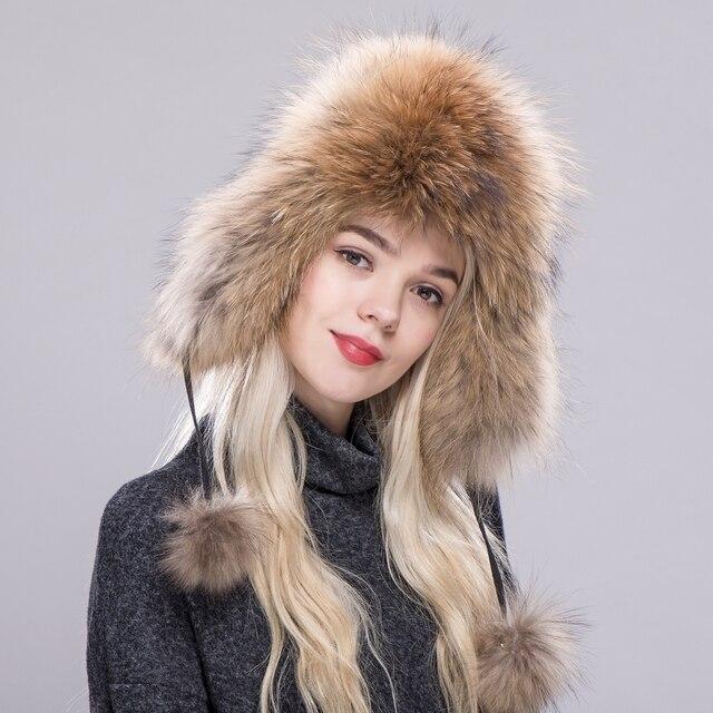 ZDFURS   sombrero de piel para mujer piel de zorro mapache Natural ruso  Ushanka sombreros invierno grueso orejas calientes moda bombardero gorra  nueva ... 7f8d3611812