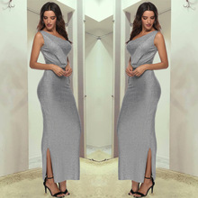 Summer Evening Party Dresses Elegant one-shoulder Bright Silk Dress Fashion Europe America Large Size Tight Solid Maxi