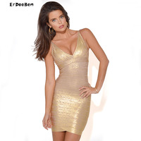 ERDAOBEN High Quality Celebrity Bodycon Hl Bandage Dress Women Sexy Gold Bandage Dress V Neck Sleeveless