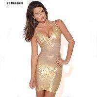 ERDAOBEN High Quality Celebrity Bodycon Hl Bandage Dress Women Sexy Gold Bandage Dress V Neck Sleeveless