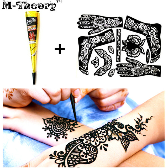 M-Theory Henna + Full Stencils Mehndi Henna Paint Temporary Tattoos Body Arts Flash Tatoos Waterproof Swimsuit Bikini Makeup