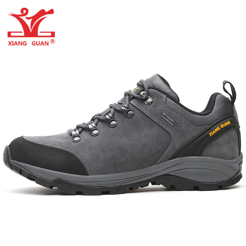 Man Hiking Shoes Men Genuine Cow Leather Trekking Boots Gray Waterproof Tactical Climbing Shoe Sports Outdoor Walking Sneakers xiangguan man hiking shoes men waterproof trekking boots green breathable sport mountain climbing shoe outdoor walking sneakers