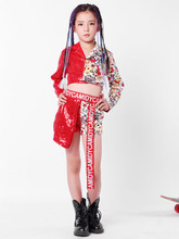New girl costumes childrens jazz dance performances show catwalk girls hip hop hip-hop red sequins suit