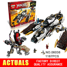 2016 New LEPIN 06038 1167Pcs Ninja Ultra Stealth Raider Model Building Kits Minifigure Blocks Bricks Toys Compatible 70595 Gifts