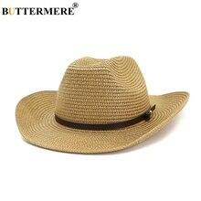 BUTTERMERE Straw Cowboy Hat Unisex Men Women Khaki Beach Brim 8cm Sun Protection Fedora Female Male With Buckle Belt