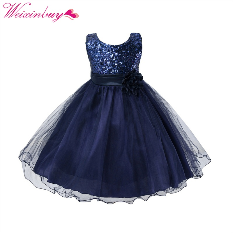 Hot Sale for 2017 3-15Y Girls Dresses Children Ball Gown Princess Wedding Party Dress Girls Summer Party Clothes Tutu Dress