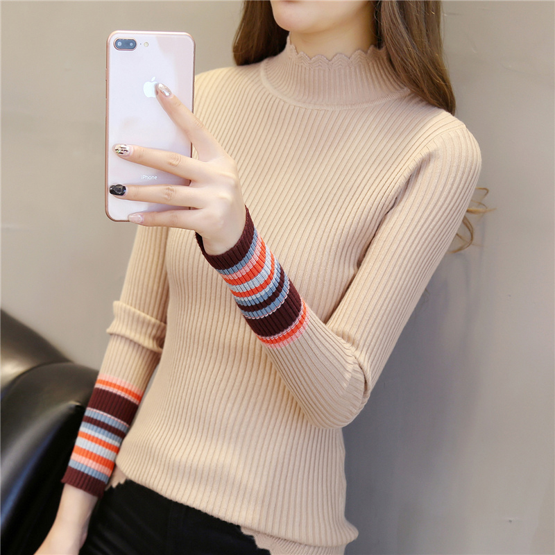 2018 Autumn And Winter New Women's Turtleneck Sweater Stretch Slim Femal Bottoming Sweater Outwear Vogue Ladies Sweaters OKXGNZ