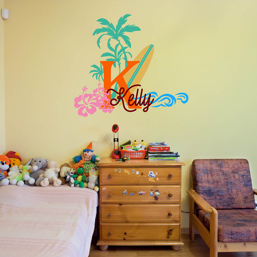 Online Shop Surfboard with Name Wall Decal Baby Palm Tree Vinyl Wall ...