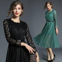 Women S Clothing Europe Style 2018 New Spring Autumn Fashion Patchwork Lace Dress Vintage O Neck