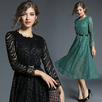 Women S Clothing Europe Style 2018 New Spring Autumn Fashion Patchwork Lace Dress Vintage O Neck