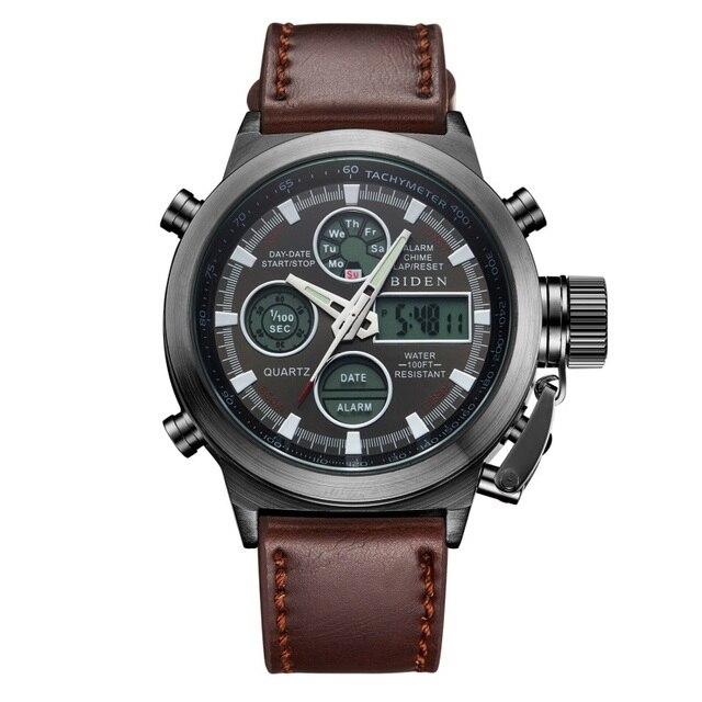 Watch Men Brand Fashion Sport Army Waterproof Leather & Nylon Strap LED Quartz-watch Diver Digital-watch Relogio Masculino 2016