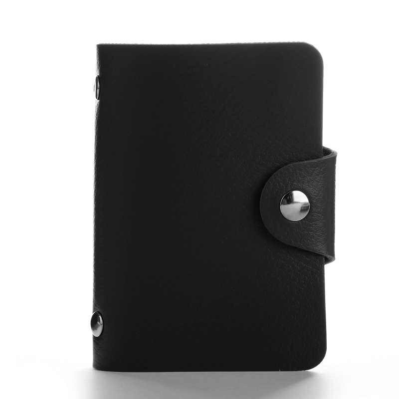 Nowy 24 sloty moda PU skórzany wizytownik na karty biznesowe organizator Hasp mężczyźni kobiety etui na karty kredytowe torba ID portfel na karty HB236c