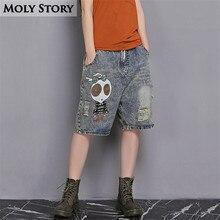 Лето мультфильм бойфренды рваные шорты повседневные джинсы шорты женские эластичный пояс плюс размер шорты тонкие широкие брюки джинсовые штаны
