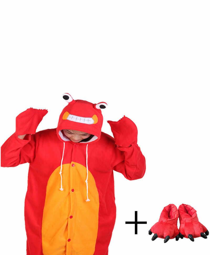 Hot Penjualan Merah Kepiting Dewasa Wanita Sepatu Kaki Gadis Jumpsuit Onesie Homewear Piyama Baju Tidur Wanita Pakaian Tidur Lengan Panjang Ukuran