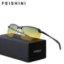 FEISHINI Multifunction Stainless Steel Green Glasses Ladies Exercise Cheap UV400 Yellow Sunglasses Men Polarized Night Vision
