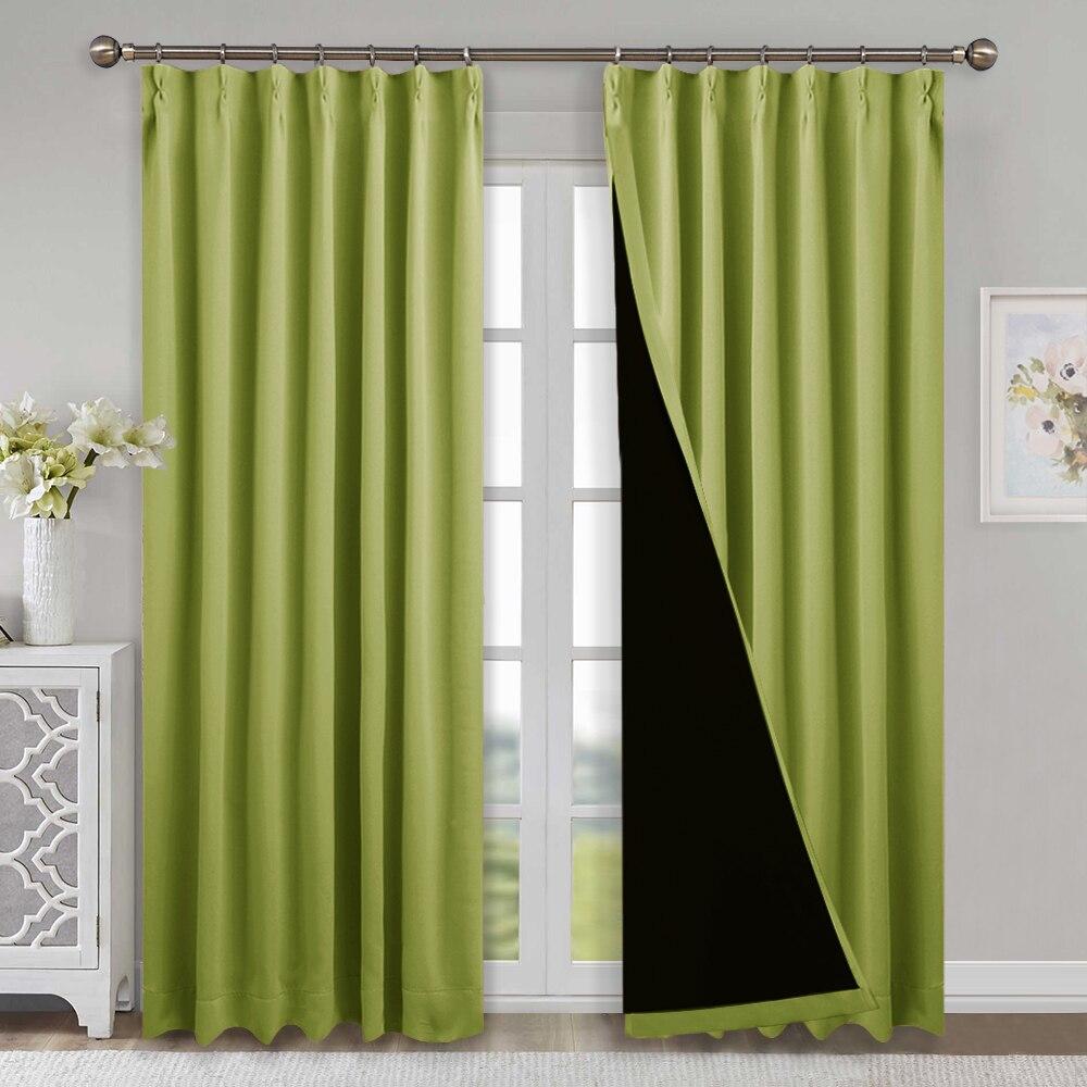 1 Piece 100 Blackout Fabric Noise Reducing Curtains Light