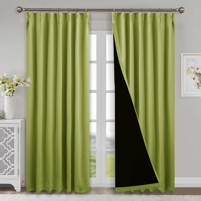 1 Piece 100 Blackout Fabric Noise Reducing Curtains Light Block Thermal Grommet Hook Up D For Bedroom Baby Kids