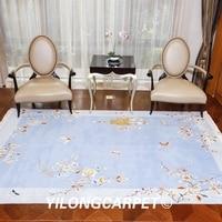 YILONG 4'x6' Blue handmade wool carpet Chinese art decoration soft wool rug (TJ007S4x6) Rug    -