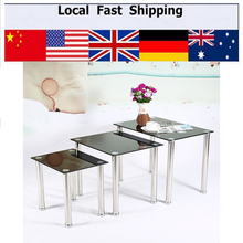 Black Glass & Chrome Legs Nesting Coffee Side Coffee Lamp End Table Sets Home Furniture