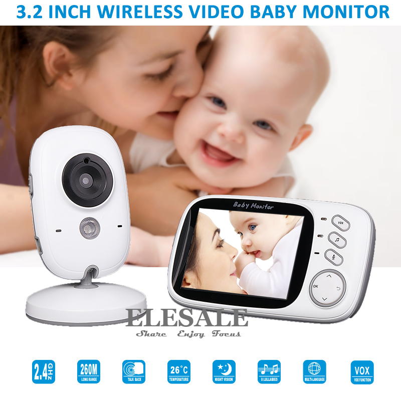 New 3.2 Video Baby Monitor Wireless Camera 2 Way Audio Intercom Night Vision Temperature Monitor Music For Baby Care fpv 1 2ghz 100mw 4ch wireless audio