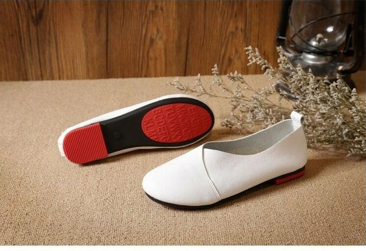 Plus Size Genuine Handmade Leather Loafer Shoes for Women