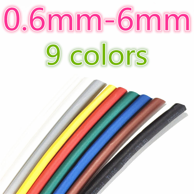 1 meter 2:1 9 Farben 0,6mm 0,8mm 1mm 1,5mm 2mm 2,5mm 3mm 3,5mm 4mm 4,5mm 5mm Schrumpf Heatshrink Schläuche Rohr Draht Dropshipping