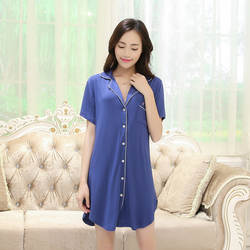 Короткий рукав модал пижамы для женщин рубашка платье Новые летние Ночные рубашки девочек мягкие удобные ночное модал